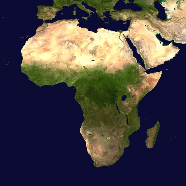 Africa by Day. / Courtesy National Aeronautics & Space Administration (NASA).